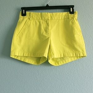 J Crew chino shorts yellow chartreuse size 0